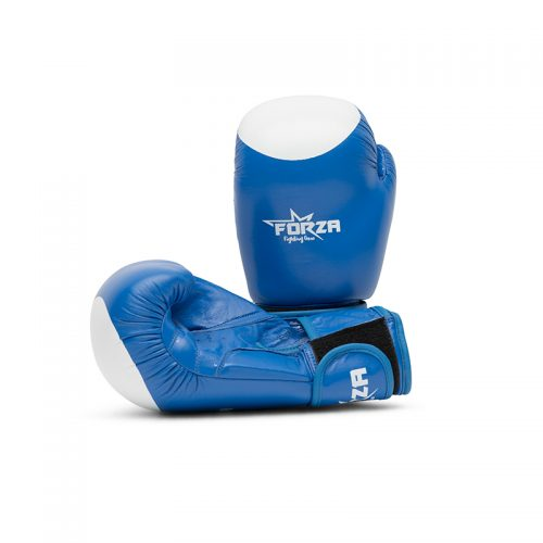 forza leather boxing gloves blue white